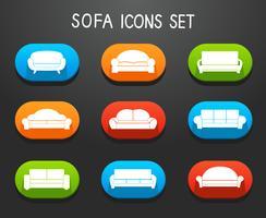 Set di icone mobili divani e divani