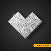 Vector plata brilla corazón