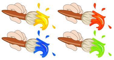 Quatre pinceaux colorés