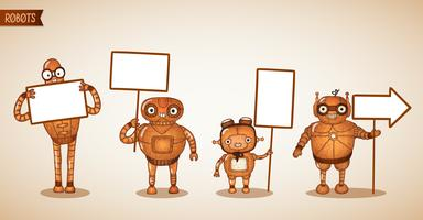 Icons of intelligent machines holding signs