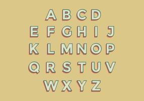 3D Retro Alphabet Vector