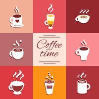 Coleção de ícones de xícara com bebidas quentes de café