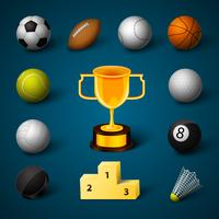 Sports Realistic Icons Set