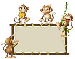 Une bannière vide avec des singes