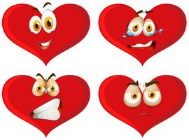Red hearts with facial expressions