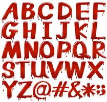 Letters of the alphabet in bloody fontstyle