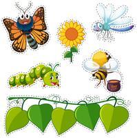 Diseño de etiqueta con hojas e insectos.