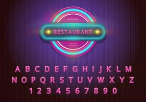 Conjunto de alfabeto retrô e ilustração de sinal retrô vetor