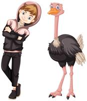 Teenage boy with cute ostrich