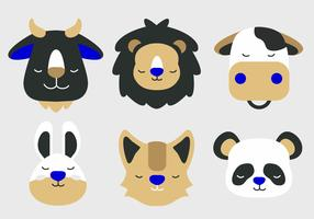 Animal Face Set Vector Illustration plate