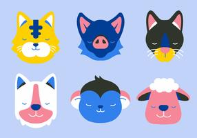 Animal Face Set Vector Flat Illustration