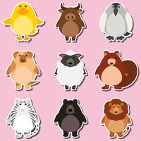 Sticker design with wild animals
