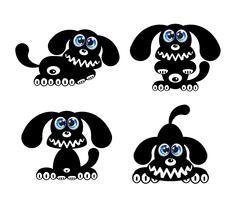 Glad hund med blå ögon