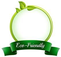 A round empty template with an eco-friendly label at the bottom vector
