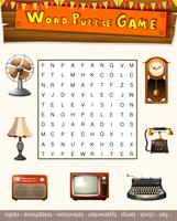 Word puzzle game for antiqu objects