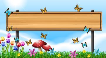 Plantilla de cartel de madera con mariposas en jardín
