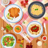 Background design with different types of food on table