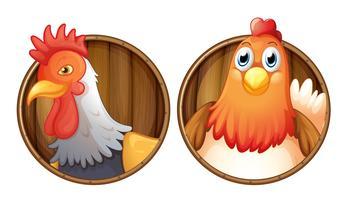 Hahn und Henne auf hölzernen Abzeichen