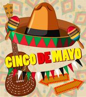 Cinco de mayo card template hat and guitar