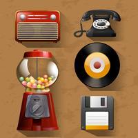Oggetti vintage su sfondo marrone