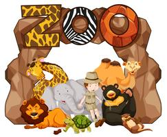 Zoo entrance with many wild animals