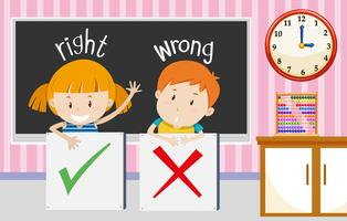 Boy and girl with right and wrong sign in classroom