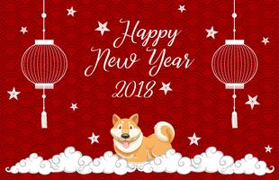 New year card template with dog on red background