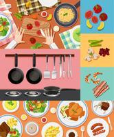 Diferentes ingredientes y comida en diferentes orígenes.