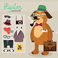 Hipster-Elemente für Welpenhund