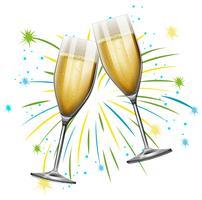 Duas taças de champanhe com fundo de fogo de artifício