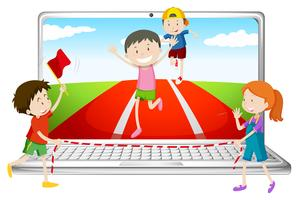 Computer screen with children running in race