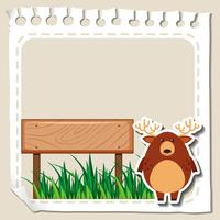 Paper template with deer on grass