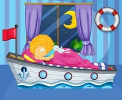 Una niña durmiendo en su cama como un bote.