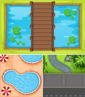 Draufsicht auf Teich und Straße