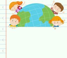 Bandermal med lyckliga barn på jorden