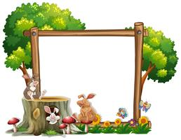 Grens sjabloon met twee konijnen