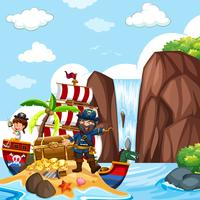 Scene with pirate and treasure chest by the waterfall