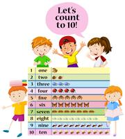 Kids counting numbers on chart
