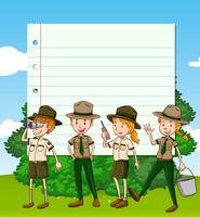 Paper template with four park rangers
