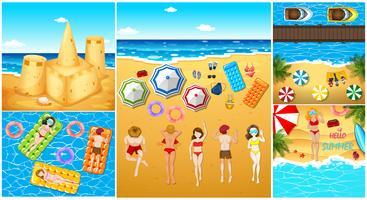 Pessoas, tendo divertimento, praia