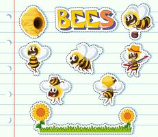 Bees and flower garden on line paper