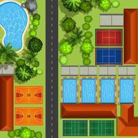 Servicio comunitario con canchas y piscinas.