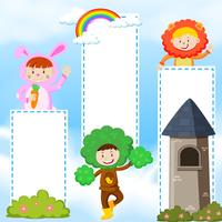 Banner template with kids in costume