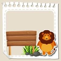 Paper template with lion vector