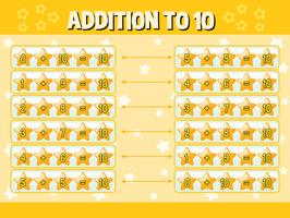 Addition to ten with yellow stars