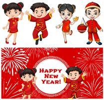 Niños felices y plantilla de tarjeta de año nuevo chino