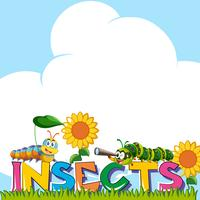 Disegno di sfondo con insetti di parola
