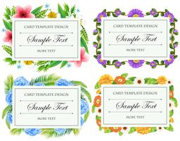 Card template design with flower borders vector