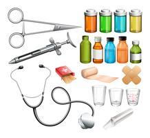 Equipos medicos y contenedor.