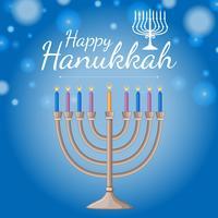 Modèle de carte pour le festival de haukkah heureux avec des bougies bleues
